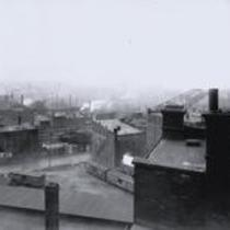 View from roof of buildings at the corner of Superior Viaduct and Columbus Rd. toward James Street, NW and the Flats