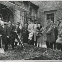 Frederick C. Crawford with shovel and others