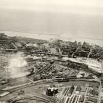 Aerial photograph of Cleveland, Ohio, and the Cuyahoga River Flats