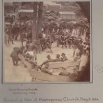 Gens. Grant & Meade examming map. Council of War at Massaponax Church, May 21, 1864