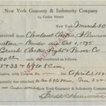 Receipt from New York Guaranty & Indemnity Company