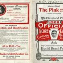 1908 official score card, Cleveland Baseball Club