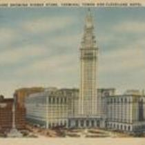 Public square showing Higbee Store, Terminal Tower, and Cleveland Hotel