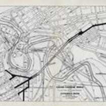 Location for Lorain-Carnegie bridge and plan for straightening the Cuyahoga River